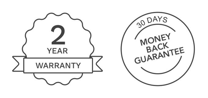 2 Year Warranty & 30-Day Money Back Guarantee